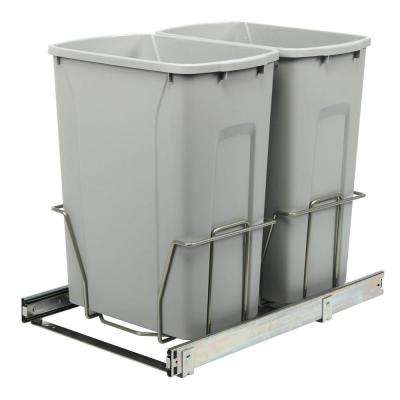 18.75 in. H x 14.38 in. W 22 in D Steel In-Cabinet 35 Qt. Double Pull-Out Trash Can in Platinum