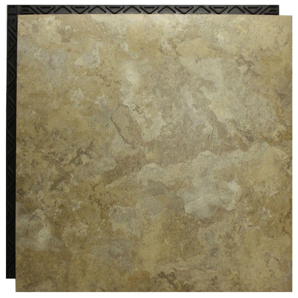 Place N' Go Travertine Beige 18.5 in. x 18.5 in. Interlocking Waterproof Vinyl Tile with Built-In Underlayment-DISCONTINUED