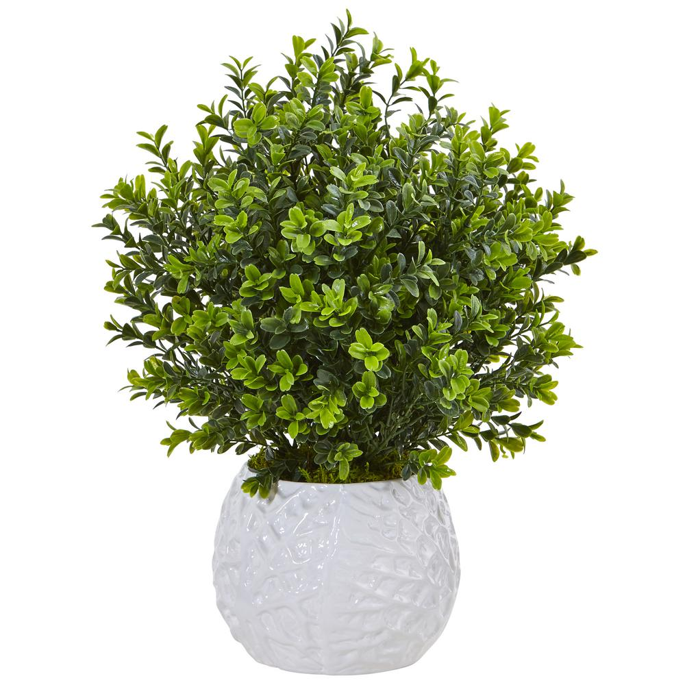 Nearly natural indoor outdoor boxwood artficial plant in for Outside plants and shrubs