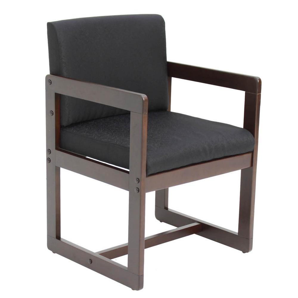 Belcino Mocha Walnut and Black Sled Base Side Chair with Arms