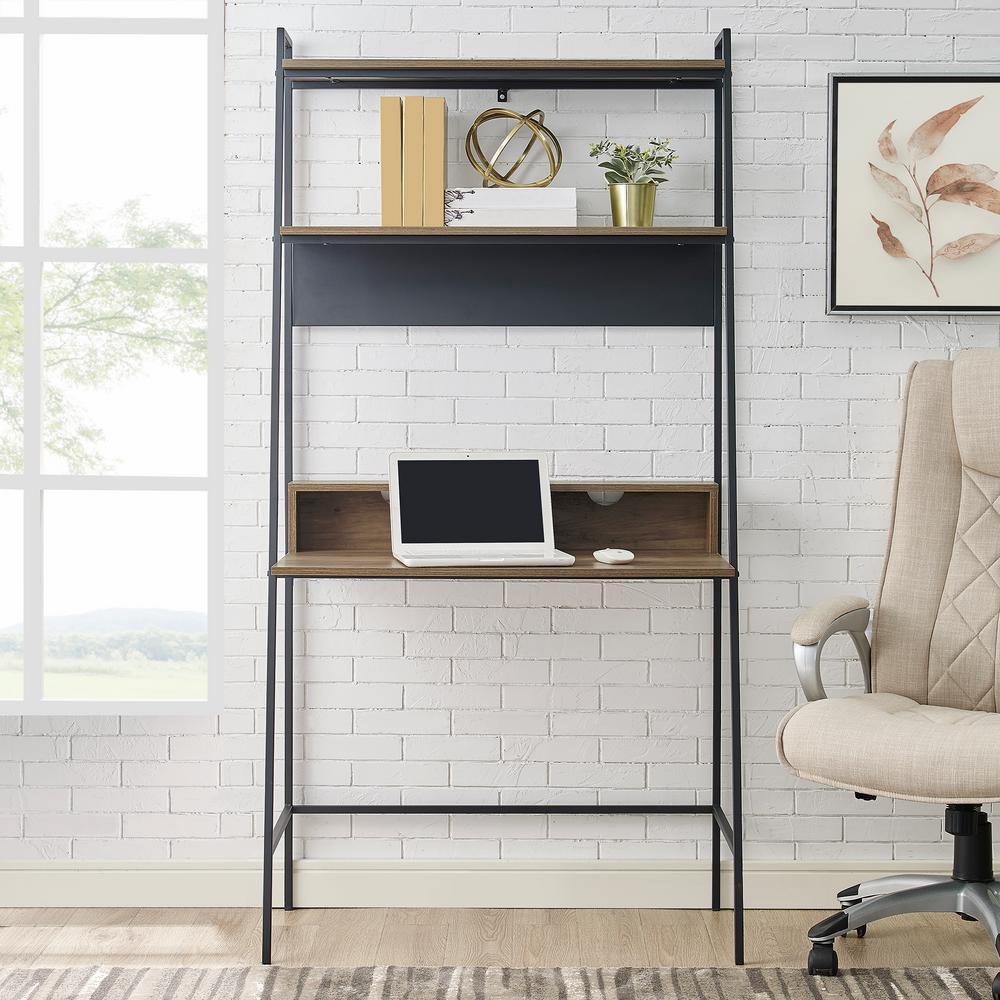 36 in. Reclaimed Barnwood Urban Industrial Mid Century Modern Metal and Wood Ladder Desk
