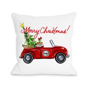 Red Bug Christmas 16 inch x 16 inch Decorative Pillow by