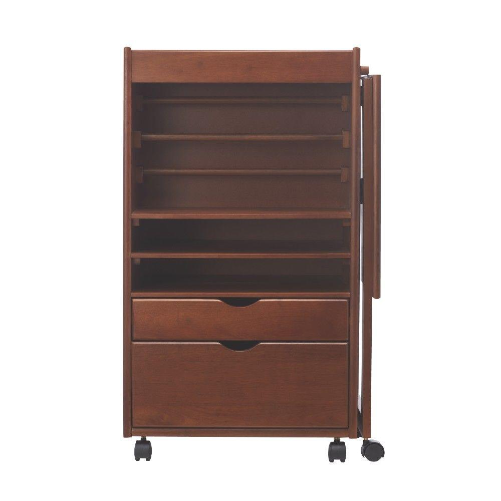 Home Decorators Collection Stanton 20 in. W Deluxe Wrapping Storage Cart in Walnut