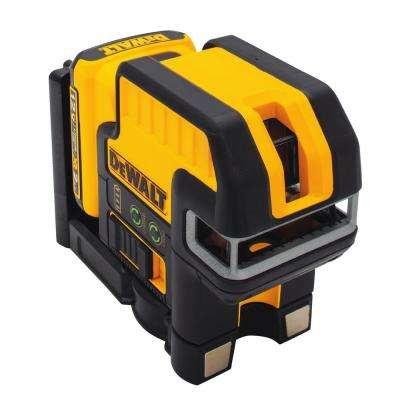 12-Volt MAX Lithium-Ion 5-Spot Cross-line Green Laser Level with Battery 2Ah, Charger and TSTAK Case
