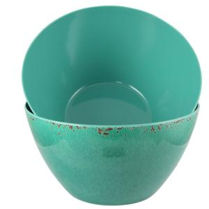 Mauna 10 in. 2-Piece Green Crackle Decal Serving Bowl Set