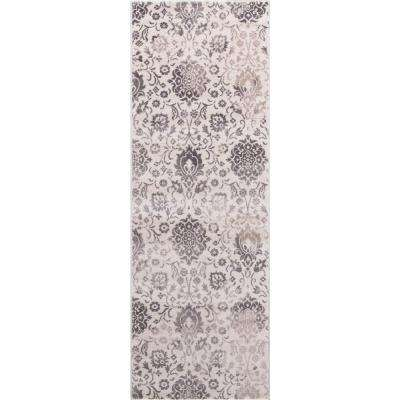 Lara Soft Damask Ivory 2 ft. 7 in. x 7 ft. 7 in. Area Rug