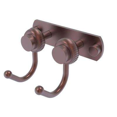Mercury Collection 2 Position Multi  Screw-In Robe Hook with Twisted Accent in Antique Copper