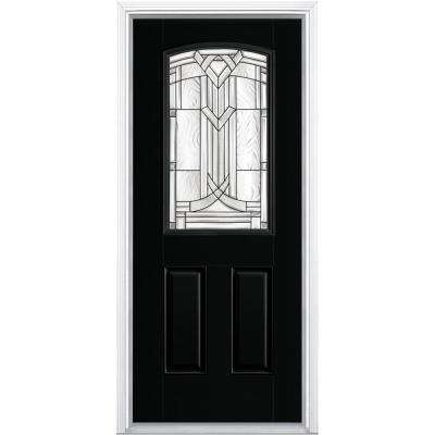 36 in. x 80 in. Chatham Camber Top Half Lite Left Hand Inswing Painted Smooth Fiberglass Prehung Front Door w/ Brickmold