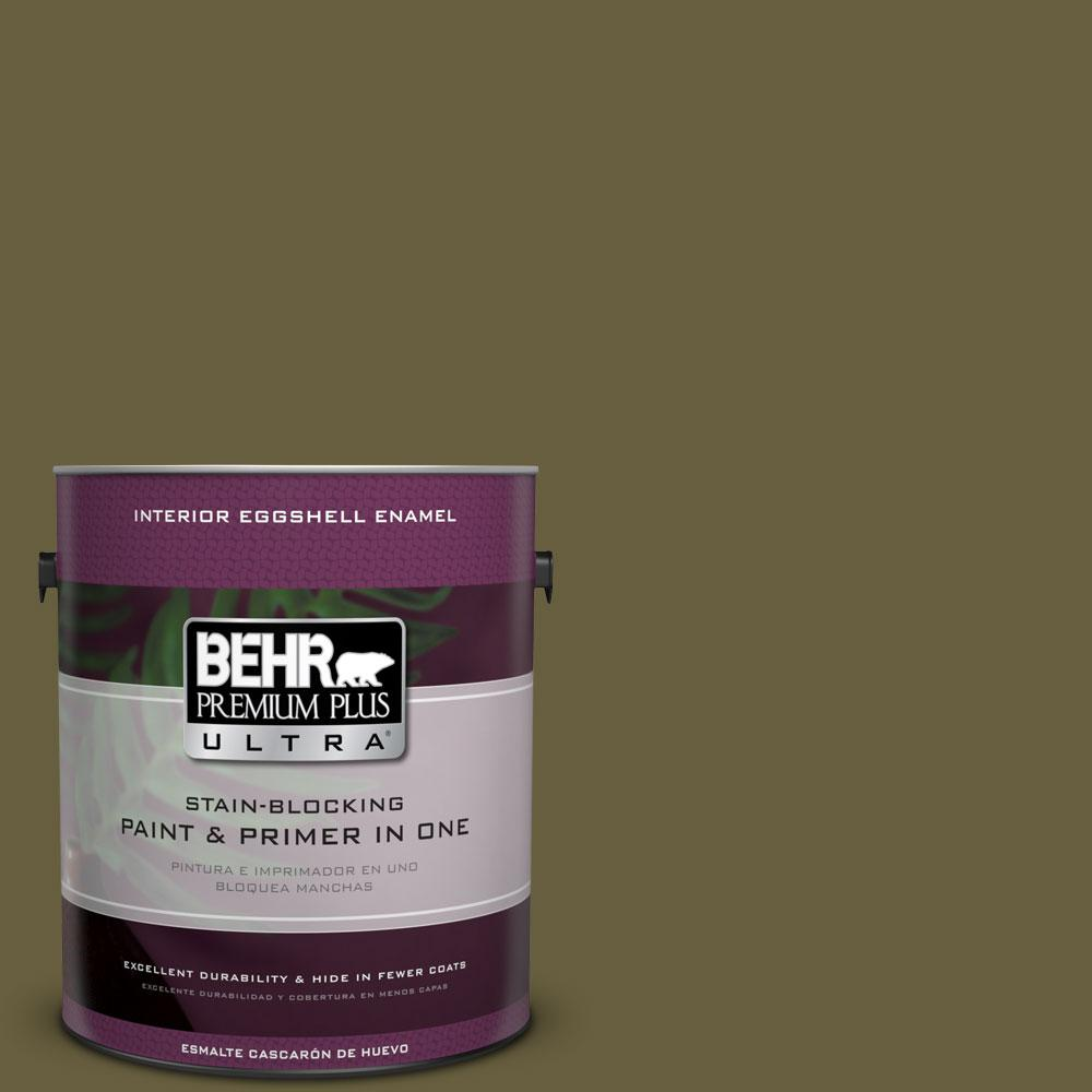 1 gal. #ICC-88 Classic Olive Eggshell Enamel Interior Paint and Primer
