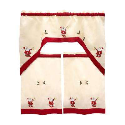 Holiday Santa Embroidered Sheer 72 in. L 3-Piece Kitchen Tier Set with Red Trim Border