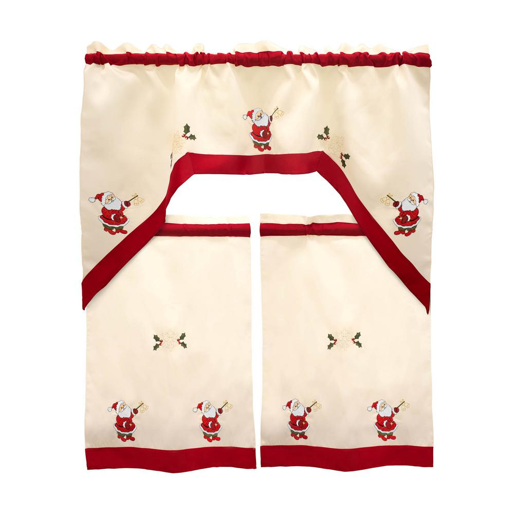 a79b1c2048f Holiday Santa Embroidered Sheer 72 in. L 3-Piece Kitchen Tier Set with Red  Trim Border