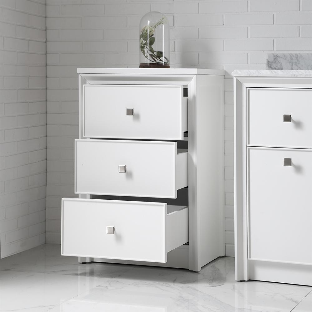 3 Drawer Small Side Cabinet White Vanity Freestanding ...