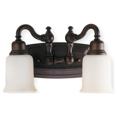 Canterbury 14 in. W 2-Light Oil Rubbed Bronze Vanity Light with Opal Etched Glass