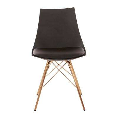 Oakley Chair in Black Faux Leather with Gold Chrome Base