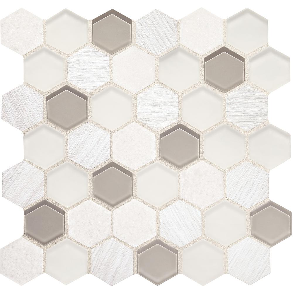 Custom Style Frost Hexagon 10-7/8 in. x 11-1/16 in. x 4mm Marble Glass and Vinyl Mosaic Wall Tile (0.76 sq. ft. / piece)