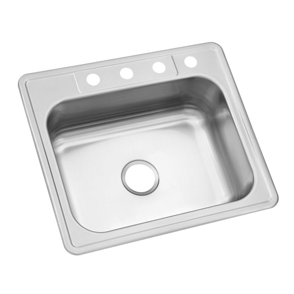 Glacier Bay Drop In Stainless Steel 25 4 Hole Single Bowl Kitchen Sink Hdsb252284 The Home Depot