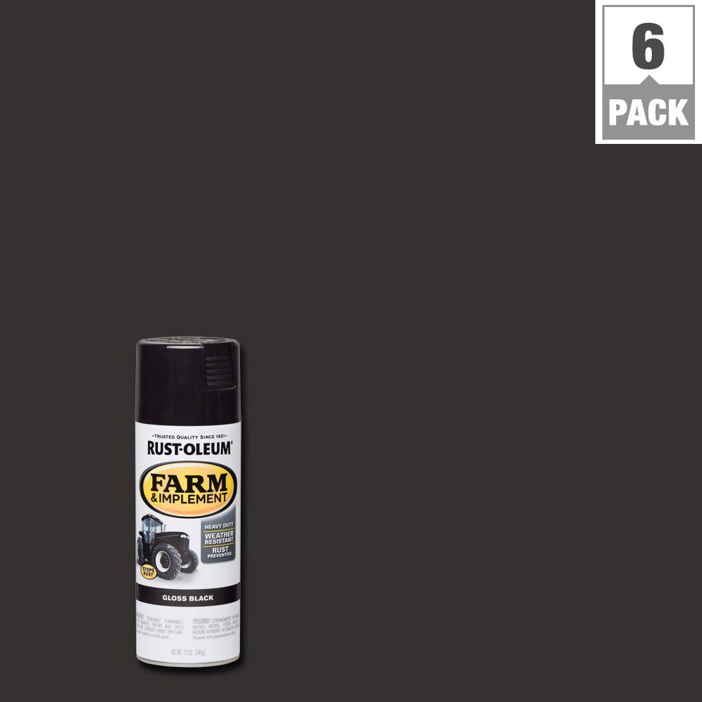 12 oz. Farm and Implement Gloss Black Spray Paint (6-Pack)