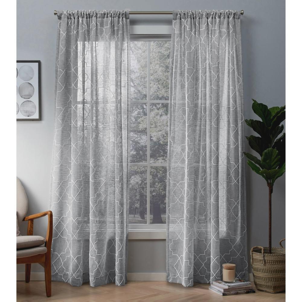 Cali 50 in. W x 84 in. L Sheer Rod Pocket Top Curtain Panel in Dove Gray (2 Panels)