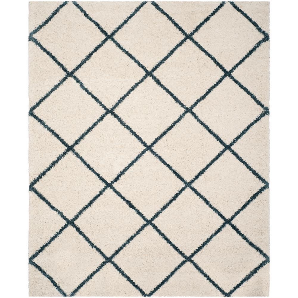 Safavieh Hudson Shag Ivory Slate Blue 8 Ft X 10 Ft Area Rug Sgh281t 8 The Home Depot