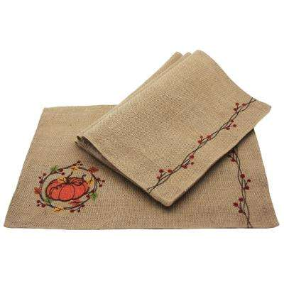 0.1 in. H x 13 in. W x 18 in. D Rustic Pumpkin Wreath Fall Placemats (Set of 4)