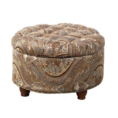 Button Tufted Round Storage Ottoman Brown and Teal Paisley