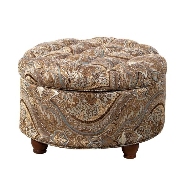 Homepop On Tufted Round Storage Ottoman Brown And Teal Paisley