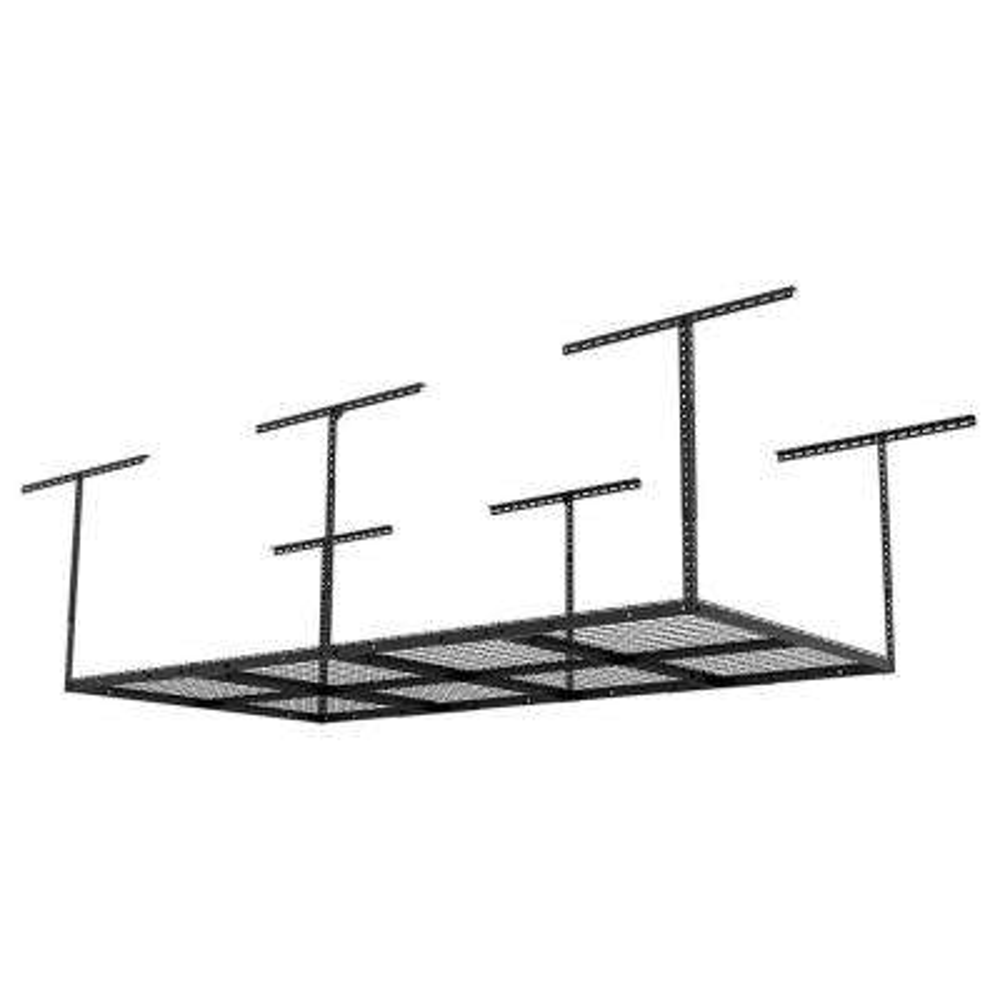 4 ft. x 8 ft. Heavy Duty Overhead Garage Adjustable Ceiling Storage Rack in Black