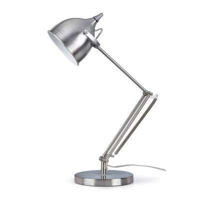 Silverado Contemporary 27.5 in. Brushed Steel Metal Table Lamp with Adjustable Swing Arm