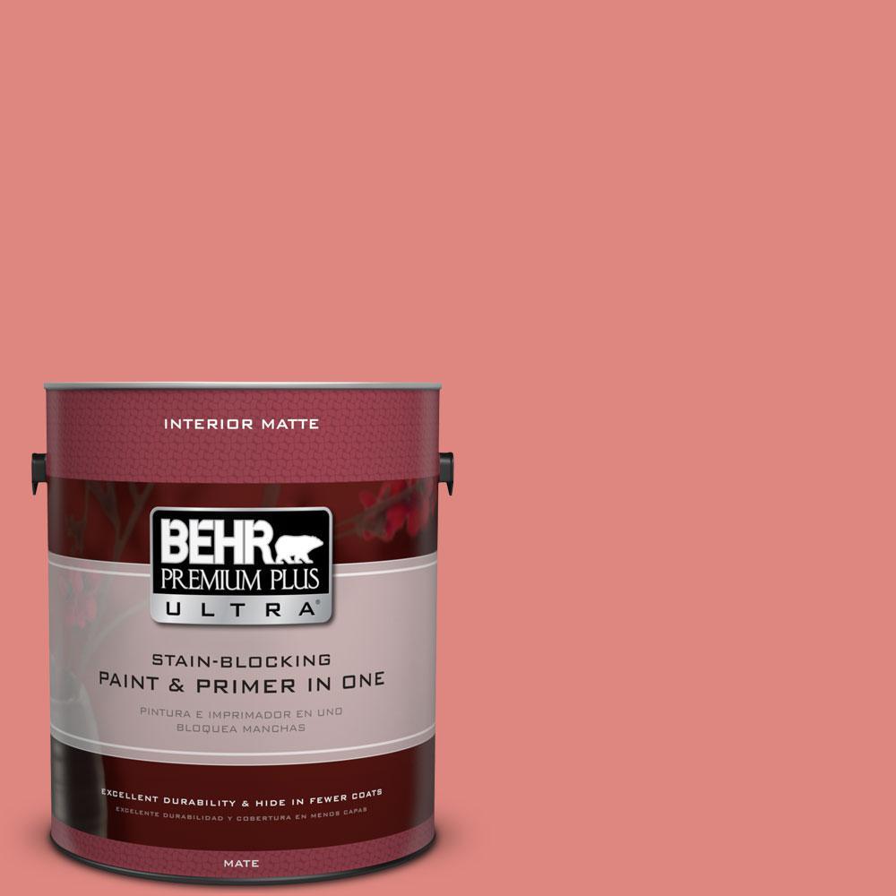 BEHR Premium Plus Ultra 1 gal. #PPU1-4 Wild Watermelon Flat/Matte Interior Paint