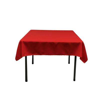 52 in. x 52 in. Red Polyester Poplin Square Tablecloth