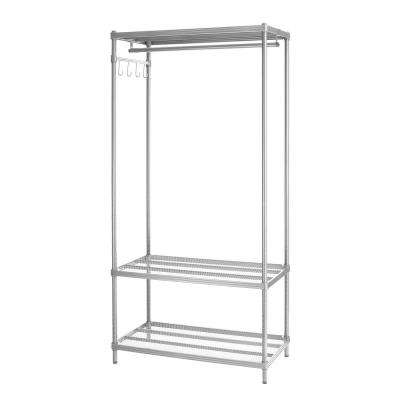 MeshWorks 3-Shelf Metal Silver Freestanding Clothing Unit