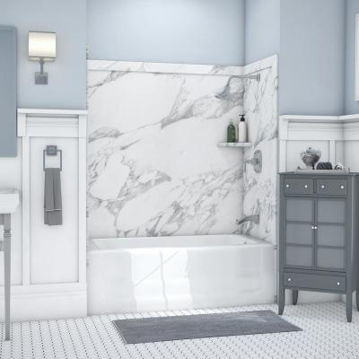 Elite 32 in. x 60 in. x 60 in. 9-Piece Easy Up Adhesive Tub Surround in Calacatta White