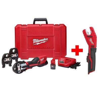 M12 12-Volt Lithium-Ion Force Logic Cordless Press Tool Kit with Free M12 Copper Tubing Cutter (3 Jaws Included)