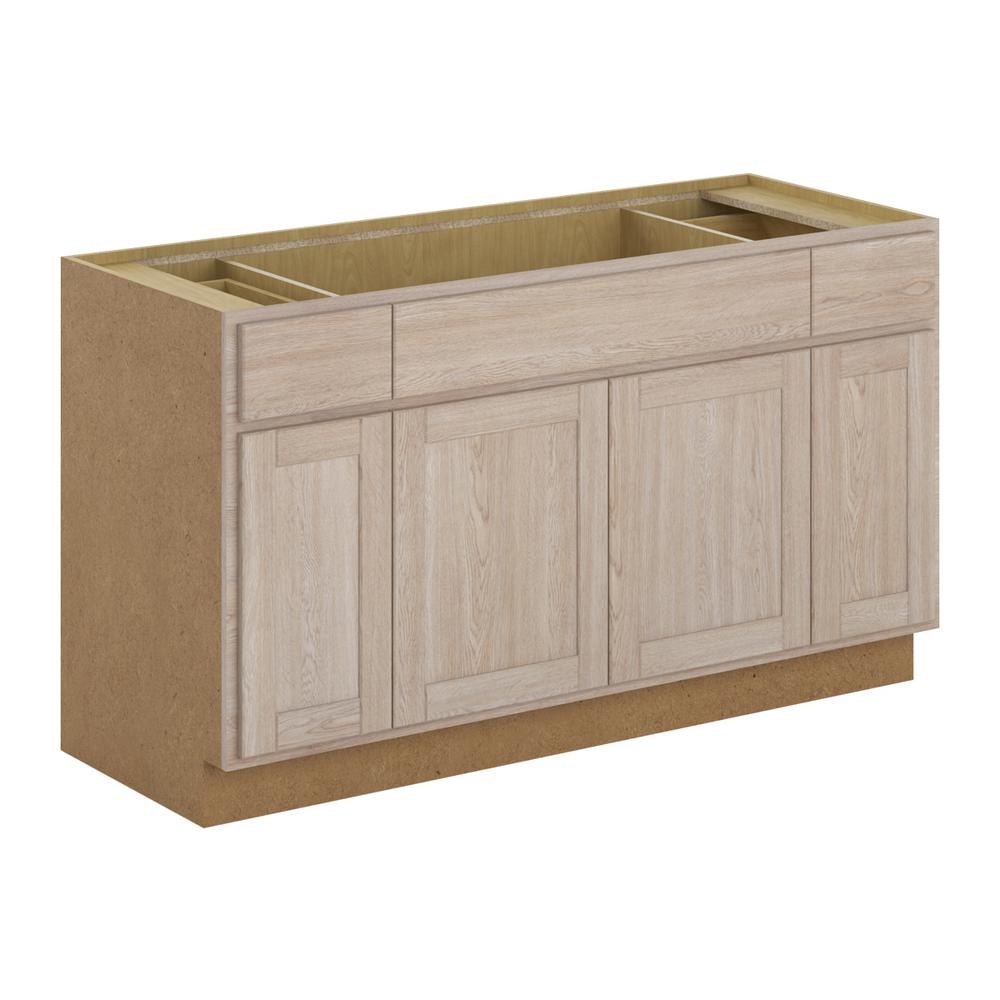 Buying Unfinished Kitchen Cabinets: Hampton Bay Stratford Assembled 60x34.5x24 In. Sink Base