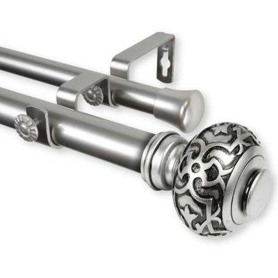Maple 66 in. - 120 in. Adjustable 1 in. Dia Double Curtain Rod in Satin Nickel