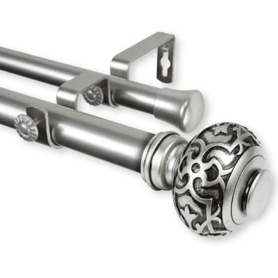 Maple 120 in. - 170 in. Adjustable 1 in. Dia Double Curtain Rod in Satin Nickel