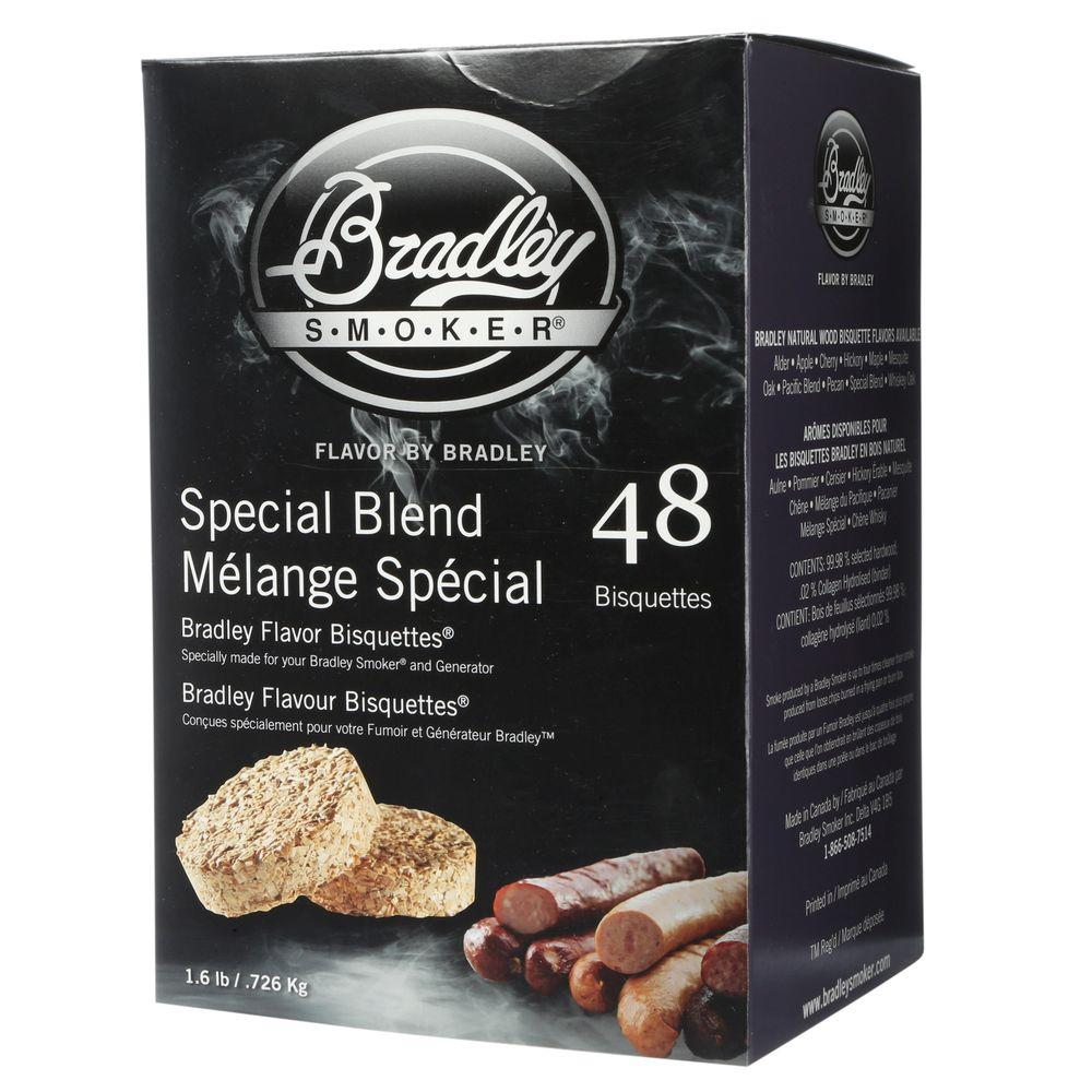 Bradley Smoker Special Blend Flavor Bisquettes (48-Pack) The Bradley Smoker Special Blend Smoker Bisquettes are made from select hardwoods and produce a clean, cool smoky flavor. These briquettes burn only to the charcoal stage, so tar and resin stays in the wood and out of your food.