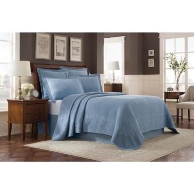 Williamsburg Abby Blue Solid Queen Coverlet