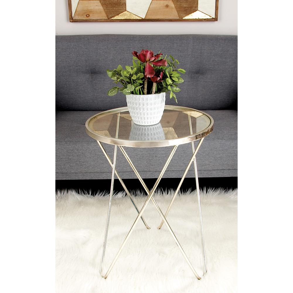 Null Metallic Silver Round Accent Table With Clear Glass Top