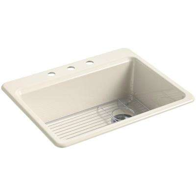 Riverby Drop-In Cast Iron 27 in. 3-Hole Single Bowl Kitchen Sink Kit in Almond