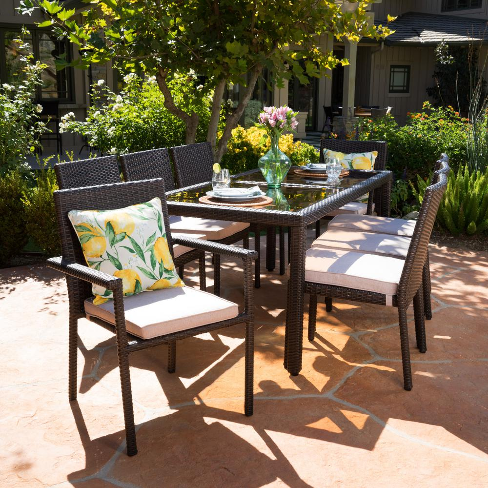 Noble House Multi Brown 9 Piece Wicker Rectangular Outdoor Dining