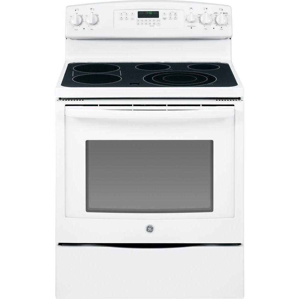GE 5.3 cu. ft. Electric Range with Self-Cleaning Convection Oven in White