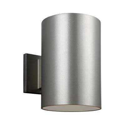 Outdoor Cylinders 1-Light Painted Brushed Nickel Outdoor Wall Lantern Sconce with LED Bulb