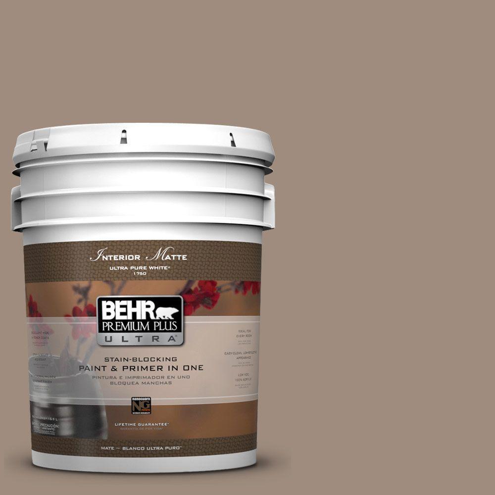 BEHR Premium Plus Ultra 5 gal. #UL140-6 Antique Leather Flat/Matte Interior Paint