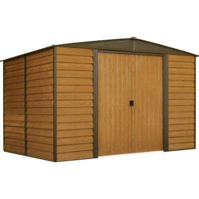 Woodridge 10 ft. W x 8 ft. D Wood-grain Galvanized Metal Storage Building