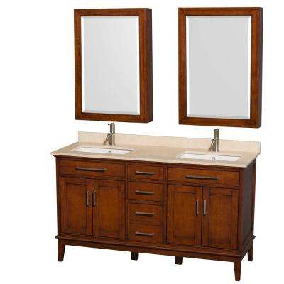 Hatton 60 in. Double Vanity in Light Chestnut with Marble Vanity Top in Ivory and Undermount Square Sinks