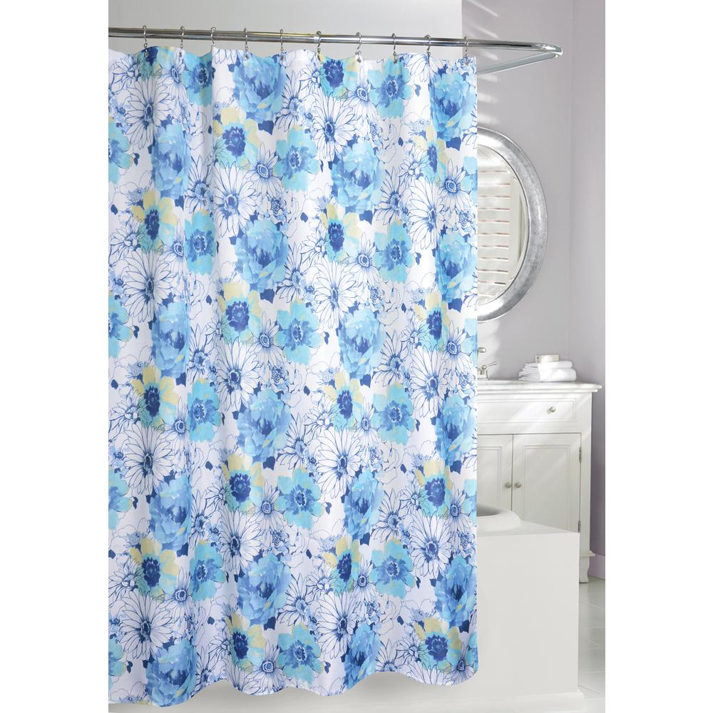 Floral Bouquet 71 in. Blue and White Fabric Shower Curtain-205084 ...