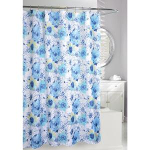 Floral Bouquet 71 inch Blue and White Fabric Shower Curtain by
