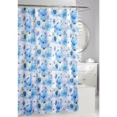 Floral Bouquet 71 in. Blue and White Fabric Shower Curtain