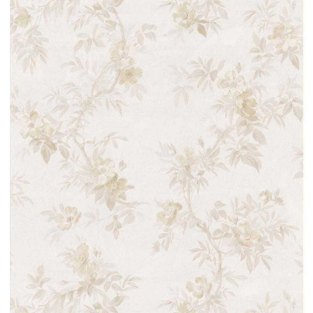 Brewster Bath Bath Bath III Neutral Wild Rose Wallpaper Sample